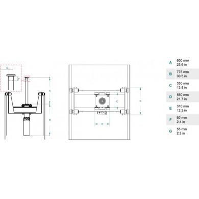 Домкрат ямный подвесной, г/п 10 т. до 600 мм
