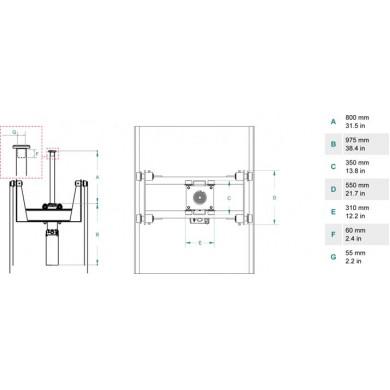 Домкрат ямный подвесной, г/п 15 т. до 800 мм