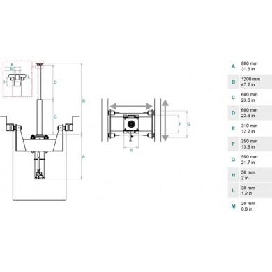 Домкрат ямный подвесной, г/п 15 т. до 1200 мм